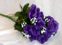 Wholesale MIC Long Stem Roses Dark Purple Silk Wedding Flowers Centerpieces Bouquets DIY