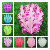 baby curl hair - 24pcs New style Nagorie Pads Curly Feather Pads Nagorie Curled Feather Pad baby girls hair Accessories kids headband YM001