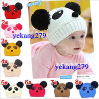 Wholesale 8 Colors Winter Boys Girls Children Hats Baby Wool Caps Winter Warm Protect The Ears Panda Knit Cap