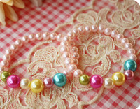 Children's beaded baby dolls - Fashion kid baby girl pearl bracelets colorful princess charm beaded bracelet doll jewelry Xmas gift