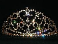 "Feather Crown  2 3 4"" Bridal Prom Halloween Veil Crystal Crown Headband Pageant Tiara 2088g"