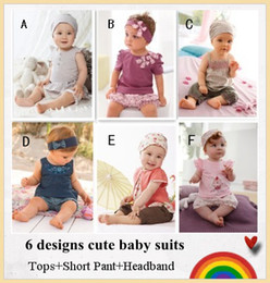 Wholesale Baby clothing Cute baby suit Tops Short Pants Headband Baby wear Best selling designs