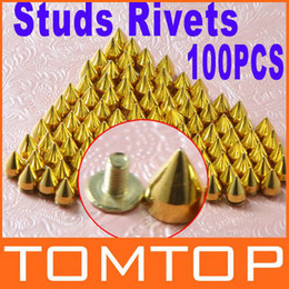 Wholesale 100pcs mm Gold Color Metal Bullet Rivet Spikes Stud Punk Bag Belt Leathercraft Accessories H8706