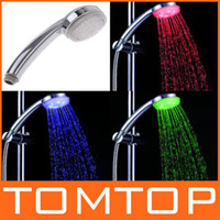 Wholesale 7 Color Changing LED Shower Head Automatic Control Sprink ABS Chroming No Need Power H4725