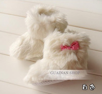 Wholesale Cute baby fur shoes Baby wither boots boot toddlers shoes Infant bowknot snow boots