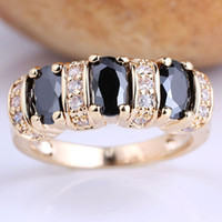 Women's Party 6 6pcs Lady Fashion Cocktail Ring Three Egg Shape Black Stones Size 6 GF GF J7507