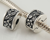 Wholesale Clasp Loose Beads Charms Clips Buckle Flower Antique Silver925 Jewelry Bracelet Accessories KT009