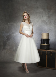 Wholesale Hot Sale Ivory A line Wedding Dress Jewel Organza Ankle length Beaded Short Beach Wedding Dress