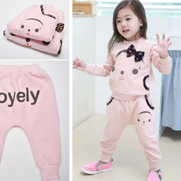 Wholesale Microfleece Sweatshirts Children Set Kids Suit Outfits Girls Sports Activewear Child Casual Pants