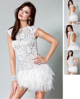 Wholesale 2013 Babyonline Prom Dress Sexy Cap Sleeves Lace Feather Mini Short White Cocktail Dresses jov171924