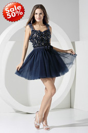 Wholesale Affordable Blue Spaghetti Strap Applique Flower Mini Short SexyTulle Cocktail dress Party Dresses
