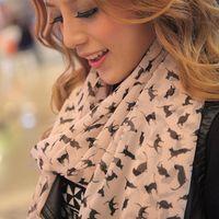 Wholesale Velvet Chiffon Silk Scarf Small Cat Scarves Catwoman Sun Shawl Collar