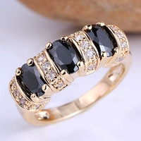 Wholesale 6pcs Lady Fashion Cocktail Ring Three Oval Black Onyx Stones Size GF J7508