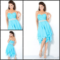 Wholesale Cheap Light Sky Blue Chiffon Cocktail Dress Knee length Sweetheart Neckline Asymmetrical Hem