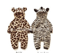 6-9 Months baby leopard costume - Single layer Thickenning Baby Animal Zebra Leopard Character Costume Fleece Hodded Very Warm Baby Suit