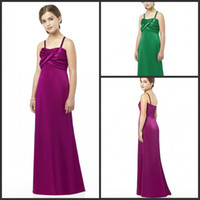 Wholesale After Six Spaghetti A line Junior Bridesmaid Dresses slight train satin draped Formal Dresses JR513