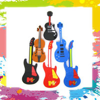 Wholesale 2GB GB GB GB Funny Guitar Violin USB Flash Pen Drive Disk Memory Stick Thumb Jump Drives Box