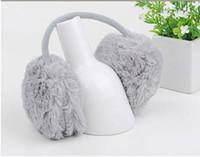 Wholesale Christmas promotion grey Women Backphones Warm Plush Winter earmuffs Ear Muffs Cute Ear Covers