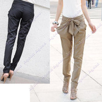 Washed Casual - Christmas Sale Sexy Women Fashion Harem Skinny Long Trousers OL Casual Slim Bow Pants Agood