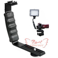 Wholesale New L Bracket DOUBLE Shoe F CAMCORDER Mic Microphone video Light Flash