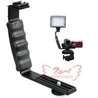 al por mayor l soporte de vídeo-Nuevo L Soporte DOBLE Zapato F CAMCORDER Mic Micrófono vídeo Luz Flash