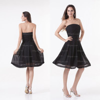 Wholesale Black Sexy Strapless Simple Mini Zipper Chiffon Party Dresses PT011