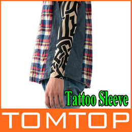 Wholesale 1 Pair Fake Stretchy Tattoo Arm Sleeves Cloth Thick Stripes Stretchy Arm Stocking H8831