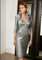 Cheap 2013 New Silver Sexy Sheath Sweetheart Knee Length Free Jacket Mother of the Bride DH00079