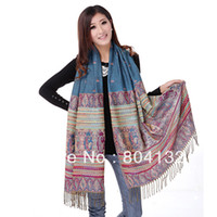 Wholesale warm Bohemian style tassel women s long scarf cape lady girl s shawl cm
