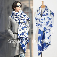 Wholesale 260 cm knitted scarf Cute Christmas Deer women Lady girl s shawl new year s novelty gift