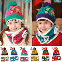 Wholesale Christmas snowman bear children with Cashmere hat collar two piece set christmas cap sonwman hat