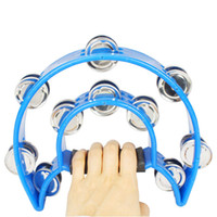 Wholesale Two ring Hand Rattles Drum Tambourine New Blue Ship From USA