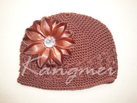 Cheap lovely baby beanie crochet hats with 3inch lily flower 100%contton handmade 120pcs lot free shipping