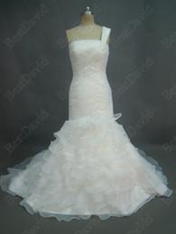 Wholesale Organza One shoulder Mermaid Designer Bridal Wedding Dress Edimburgo Layers Ruched Court Train
