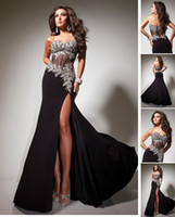 Wholesale 2013 Black Evening Dresses Sexy Sweetheart Crystals Applique Split Chiffon Prom Dresses