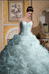 Wholesale Custom Actual Sweetheart Beaded Chapel Train Ruffle Organza Ball Gown Wedding Dresses ABC220