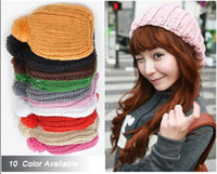 Wholesale Hot Fashion Colors Warm Winter Women Beret Braided Baggy Beanie Hat Ski Cap