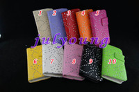 Wholesale Wallet card leather case flower diamond Pouches for iphone G stand holster purse cases