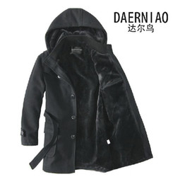 Wholesale Trendy Mens Woolen Coat Thick Warm Add Plush Inside Detachable Caps Mid Long Trench Coats Black Grey