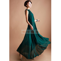 Wholesale Hot sale Fashion women chiffon dress green party dress elegant sleeveless women dress women clothing