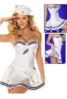 Wholesale Retail amp Sexy Lingerie Navy Sailor Halloween Costume Navy Uniform Cosplay ONE SET DT2331