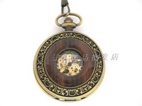 Wholesale Retro exquisite carved inlaid wood grain mechanical watch necklace hanging table RAHB710B