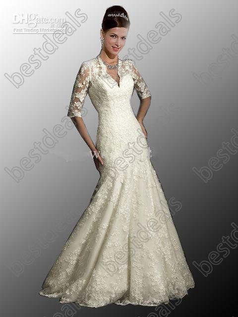 Sexy weddng dresses 2013 winter v neck long sleeves court for Cheap lace mermaid wedding dresses