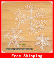 Wholesale 2012 White Plastic Christmas Snowflake Sheet Ornament Merry Xmas Tree House Decoration With Shining