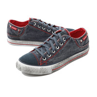 Lace-Up denim fabric - Mens Canvas Shoes Women Classic Casual Flat Shoes Fashion Comfort Sneakers Running Shoes Blue red