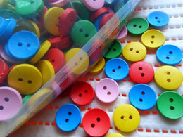 Wholesale 200pcs mm mix round holes natural wood Buttons baby DIY doll sewing scrapbook Cardmaking