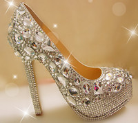Wholesale Luxury wedding shoe big gem manual set auger specially high diamond with waterproof single glass sli