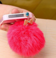 Wholesale Large diamond bow rabbit iphone mm jack dust plug universal for cell phone Tablet PC