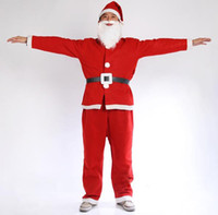 Wholesale Christmas Costume Piece Set Hat beard clothes trousers belt Adult male Child boy Retail free shipp
