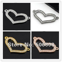Wholesale 40PCS Mixed Side Ways Crystal Rhinestones Open Hollow Heart Bracelet Connector Charm Beads